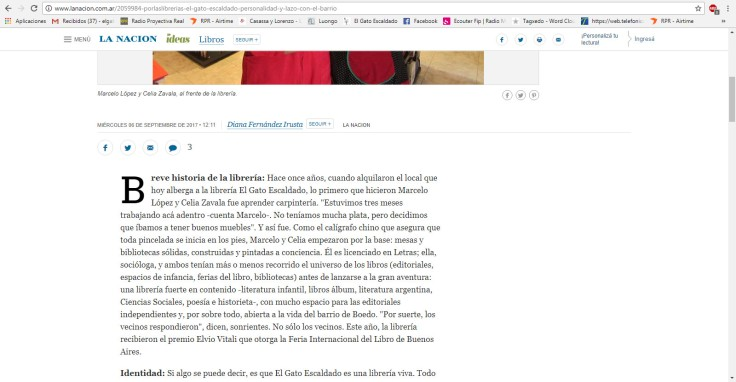 Nota Por las librerías La Nacion online 2017 2
